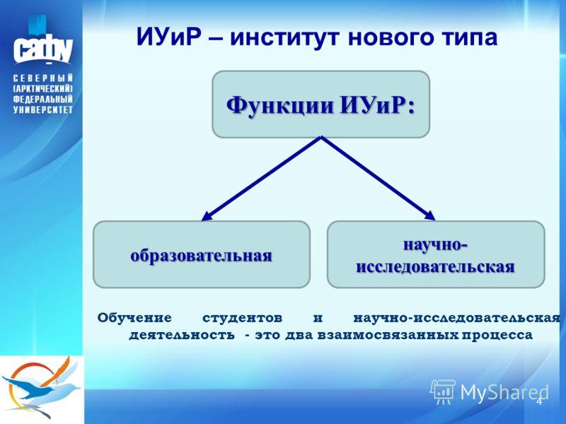 ИУиР – институт нового типа 4 Обучение студентов и научно-исследовательская деятельность - это два взаимосвязанных процесса Функции ИУиР: образовательная научно- исследовательская