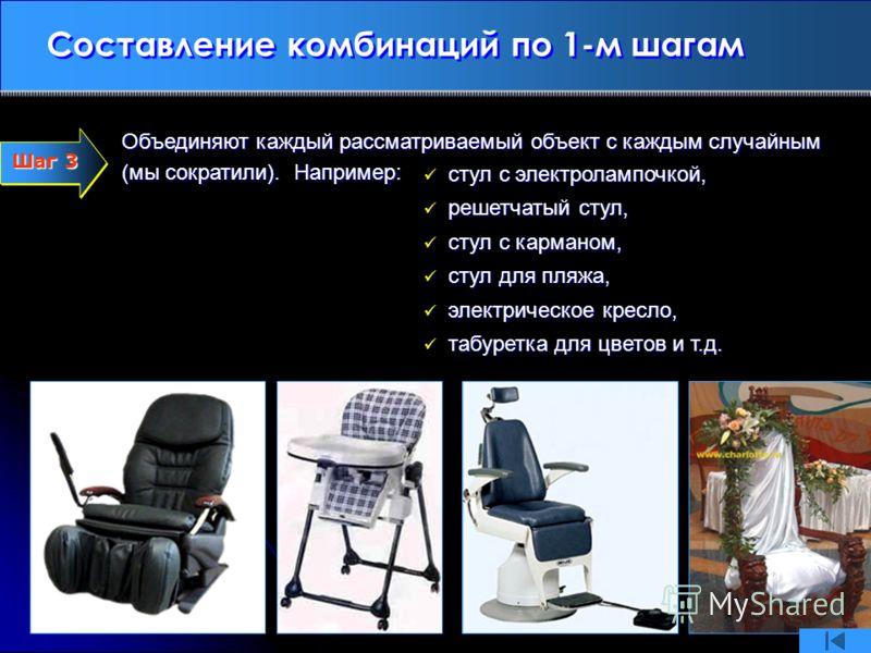 Составление комбинаций по 1-м шагам Объединяют каждый рассматриваемый объект с каждым случайным (мы сократили). Например: Шаг 3 Шаг 3 стул с электролампочкой, стул с электролампочкой, решетчатый стул, решетчатый стул, стул с карманом, стул с карманом