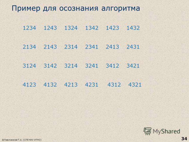 Пример для осознания алгоритма 1234 1243 1324 1342 1423 1432 2134 2143 2314 2341 2413 2431 3124 3142 3214 3241 3412 3421 4123 4132 4213 4231 4312 4321 ©Павловская Т.А. (СПб НИУ ИТМО) 34