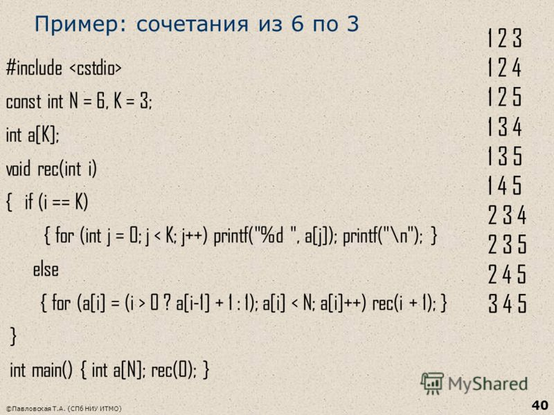 Пример: сочетания из 6 по 3 #include const int N = 6, K = 3; int a[K]; void rec(int i) { if (i == K) { for (int j = 0; j < K; j++) printf(