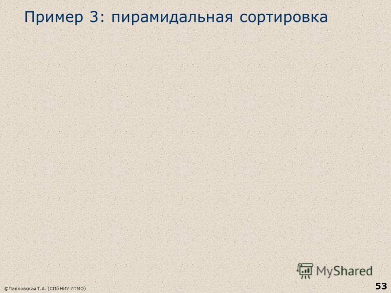 Пример 3: пирамидальная сортировка ©Павловская Т.А. (СПб НИУ ИТМО) 53