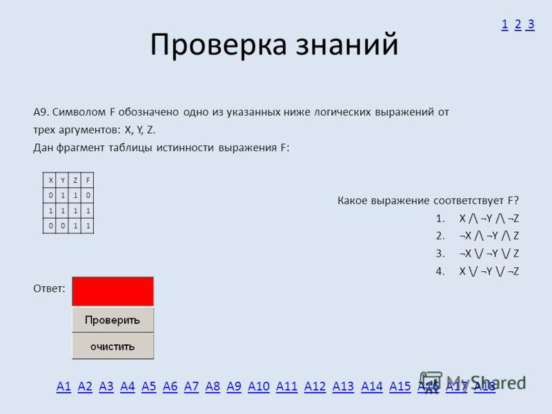 Проверка знаний А9. Символом F обозначено одно из указанных ниже логических выражений от трех аргументов: X, Y, Z. Дан фрагмент таблицы истинности выражения F: Какое выражение соответствует F? 1. X /\ ¬Y /\ ¬Z 2. ¬X /\ ¬Y /\ Z 3. ¬X \/ ¬Y \/ Z 4. X \