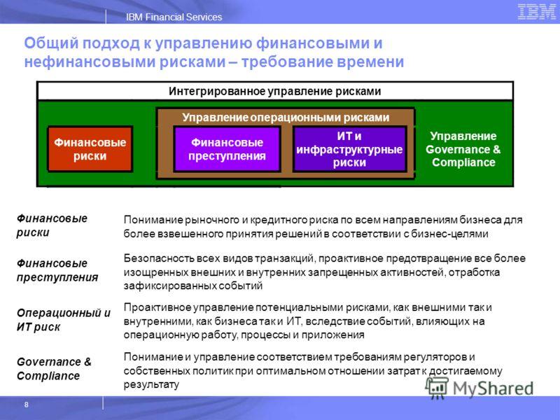 IBM Financial Services 8 Финансовые риски Понимание рыночного и кредитного риска по всем направлениям бизнеса для более взвешенного принятия решений в соответствии с бизнес-целями Финансовые преступления Безопасность всех видов транзакций, проактивно