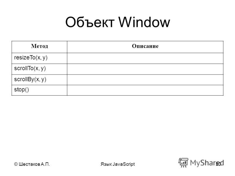 © Шестаков А.П.Язык JavaScript30 Объект Window МетодОписание resizeTo(x, y) scrollTo(x, y) scrollBy(x, y) stop()