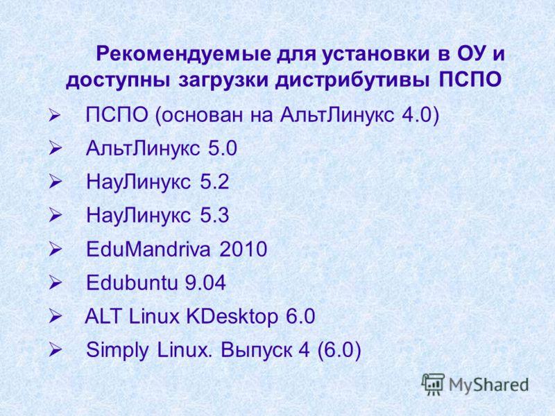 Рекомендуемые для установки в ОУ и доступны загрузки дистрибутивы ПСПО ПСПО (основан на АльтЛинукс 4.0) АльтЛинукс 5.0 НауЛинукс 5.2 НауЛинукс 5.3 EduMandriva 2010 Edubuntu 9.04 ALT Linux KDesktop 6.0 Simply Linux. Выпуск 4 (6.0)