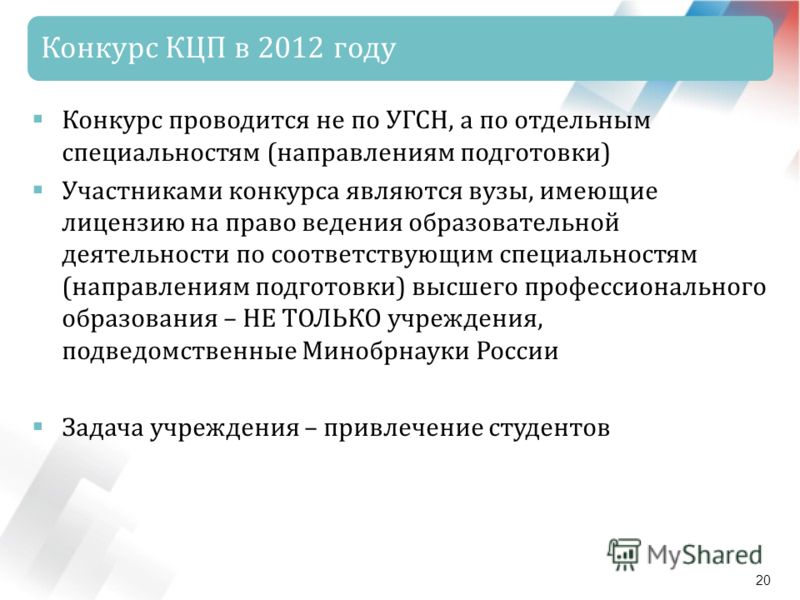 Конкурс КЦП в 2012 году 20 Конкурс проводится не по УГСН, а по отдельным специальностям (направлениям подготовки) Участниками конкурса являются вузы, имеющие лицензию на право ведения образовательной деятельности по соответствующим специальностям (на