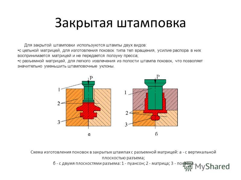Закрытая штамповка Для закрытой штамповки используются штампы двух видов: с цельной матрицей, для изготовления поковок типа тел вращения, усилие распора в них воспринимается матрицей и не передается ползуну пресса; с разъемной матрицей, для легкого и