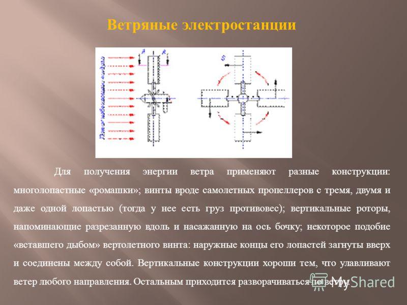 Ветряные электростанции Для получения энергии ветра применяют разные конструкции : многолопастные « ромашки »; винты вроде самолетных пропеллеров с тремя, двумя и даже одной лопастью ( тогда у нее есть груз противовес ); вертикальные роторы, напомина