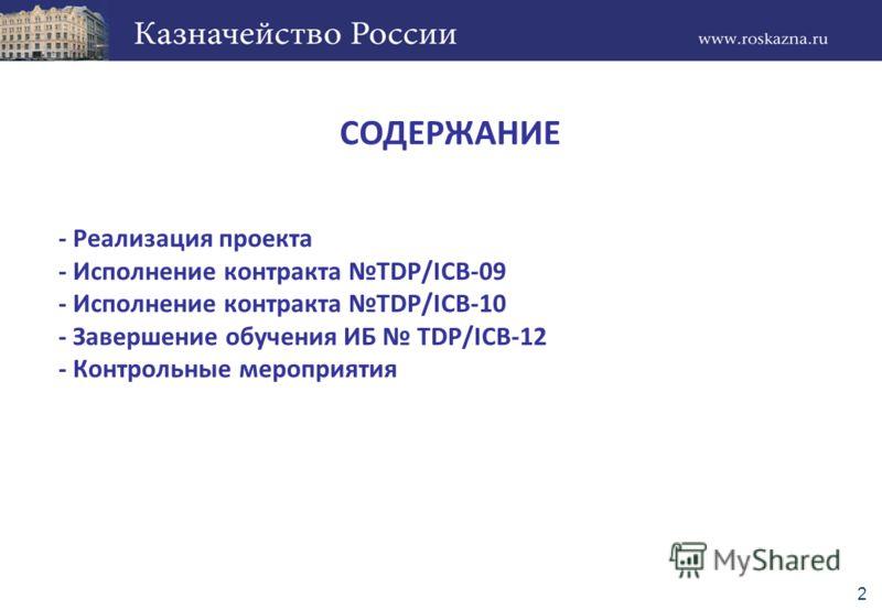 - Реализация проекта - Исполнение контракта TDP/ICB-09 - Исполнение контракта TDP/ICB-10 - Завершение обучения ИБ TDP/ICB-12 - Контрольные мероприятия СОДЕРЖАНИЕ 2
