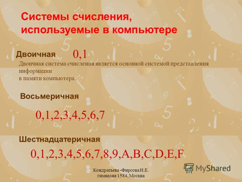 Кондратьева -Фирсова Н.Е. гимназия 1584, Москва Восьмеричная Системы счисления, используемые в компьютере Двоичная Шестнадцатеричная Двоичная система счисления является основной системой представления информации в памяти компьютера. 0,1 0,1,2,3,4,5,6