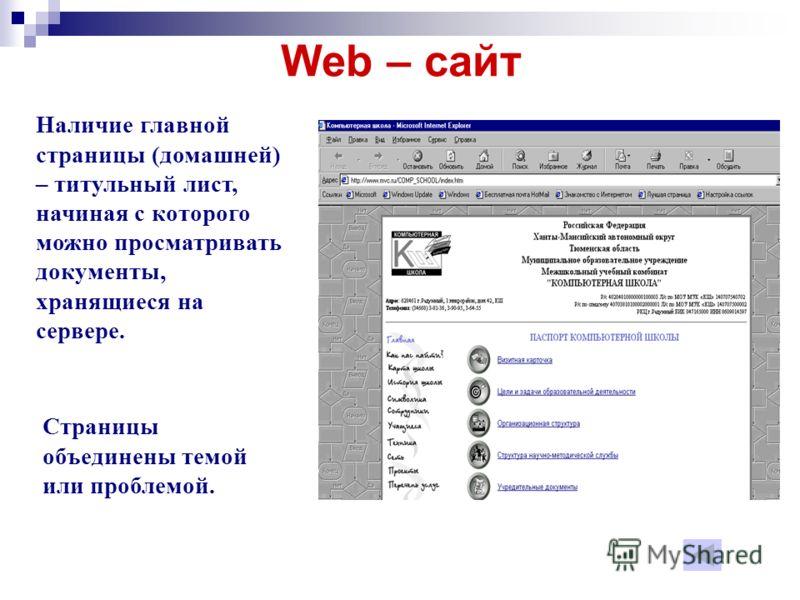 Web – сайт Наличие главной страницы (домашней) – титульный лист, начиная с которого можно просматривать документы, хранящиеся на сервере. Страницы объединены темой или проблемой.