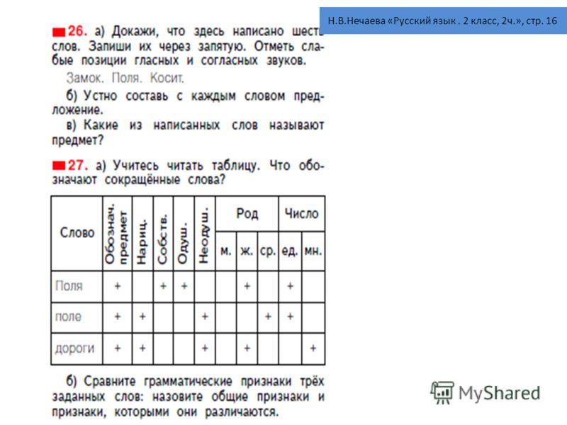 Н.В.Нечаева «Русский язык. 2 класс, 2ч.», стр. 16