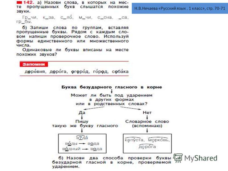 Н.В.Нечаева «Русский язык. 1 класс», стр. 70-71