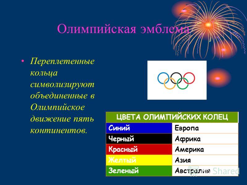 Олимпийская эмблема Переплетенные кольца символизируют объединенные в Олимпийское движение пять континентов. ЦВЕТА ОЛИМПИЙСКИХ КОЛЕЦ СинийЕвропа ЧерныйАфрика КрасныйАмерика ЖелтыйАзия ЗеленыйАвстралия