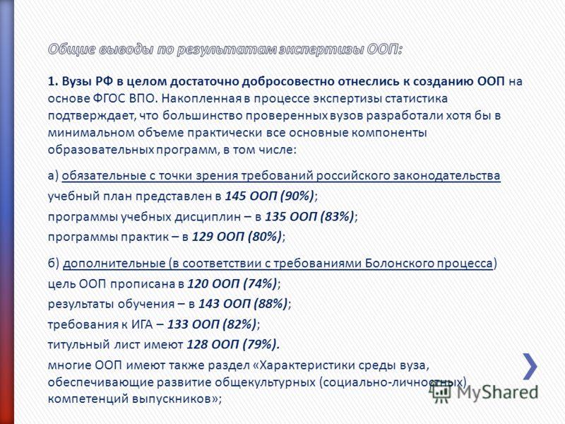1. Вузы РФ в целом достаточно добросовестно отнеслись к созданию ООП на основе ФГОС ВПО. Накопленная в процессе экспертизы статистика подтверждает, что большинство проверенных вузов разработали хотя бы в минимальном объеме практически все основные ко