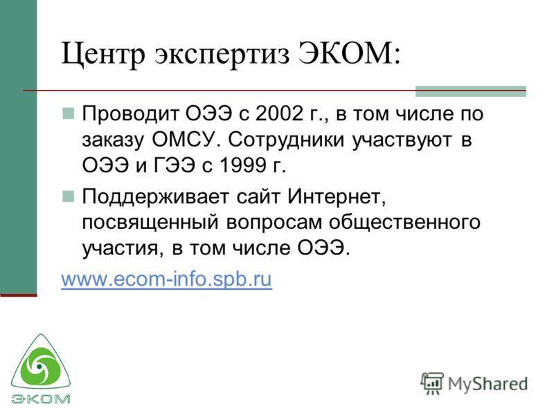 Центр экспертиз ЭКОМ: Проводит ОЭЭ с 2002 г., в том числе по заказу ОМСУ. Сотрудники участвуют в ОЭЭ и ГЭЭ с 1999 г. Поддерживает сайт Интернет, посвященный вопросам общественного участия, в том числе ОЭЭ. www.ecom-info.spb.ru