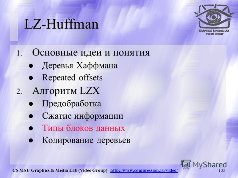 CS MSU Graphics & Media Lab (Video Group) http://www.compression.ru/video/104 Кодирование подстановки (Encoding a match) Используется до 4-ех полей: 1.Output element (len_pos_header + NUM_CHARS) from the main tree 2.If length_footer != null, then out