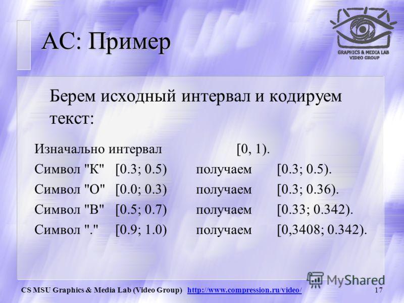CS MSU Graphics & Media Lab (Video Group) http://www.compression.ru/video/16 AC: Визуальное представление Графически соответствующую процедуру можно представить так: