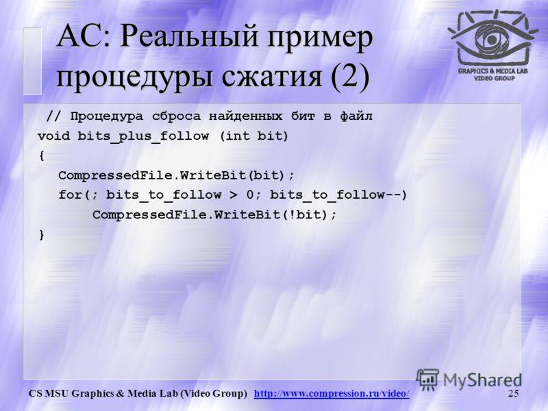 CS MSU Graphics & Media Lab (Video Group) http://www.compression.ru/video/24 АС: Реальный пример процедуры сжатия l 0 =0; h 0 =65535; i=0; delitel= b[c last ]; // =10 First_qtr = (h 0 +1)/4; Half = First_qtr*2; // = 16384 = 32768 Third_qtr = First_qt