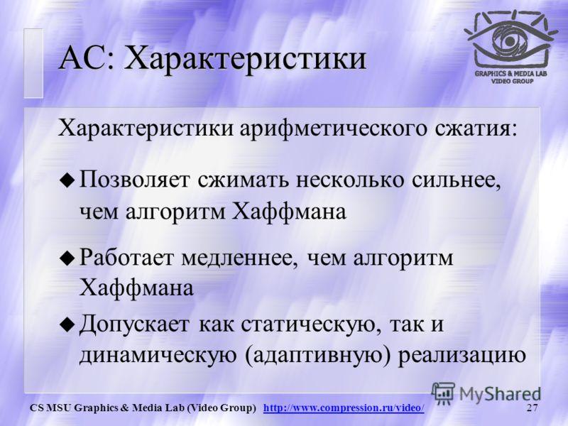 CS MSU Graphics & Media Lab (Video Group) http://www.compression.ru/video/26 АС: Работа целочисленного алгоритма Пример сжатия цепочки: i Символ (c j ) hihihihi lililili Нормали з: h i Нормализ : l i Вывод 0 655350 1К3276719660655351310401 2О28832131