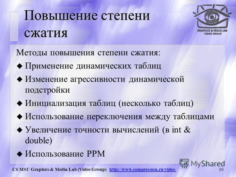 CS MSU Graphics & Media Lab (Video Group) http://www.compression.ru/video/29 АС: Пример Пусть есть два символа a и b с вероятностями 253/256 и 3/256 Для арифметического сжатия мы потратим на цепочку из 256 байт –log 2 (253/256)·253– log 2 (3/256)·3 =