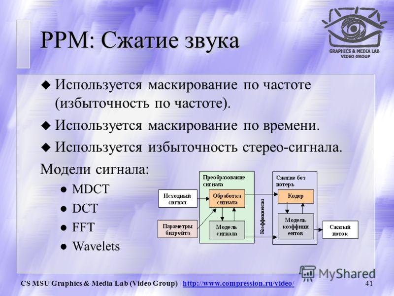 CS MSU Graphics & Media Lab (Video Group) http://www.compression.ru/video/40 PPM: Сжатие видео u Используется преобразование цветовых пространств (избыточность по цвету). u Используется компенсация движения (избыточность по времени). Модели сигнала: