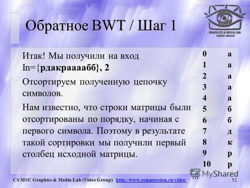 CS MSU Graphics & Media Lab (Video Group) http://www.compression.ru/video/51 BWT / Суть «Фокус» BWT в том, что полученной цепочки «рдакраааабб» и числа 2 достаточно для воссоздания исходной цепочки. Зачем это нужно? Если мы преобразуем таким образом
