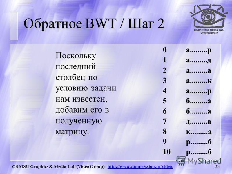 CS MSU Graphics & Media Lab (Video Group) http://www.compression.ru/video/52 Обратное BWT / Шаг 1 Итак! Мы получили на вход In={рдакраааабб}, 2 Отсортируем полученную цепочку символов. Нам известно, что строки матрицы были отсортированы по порядку, н
