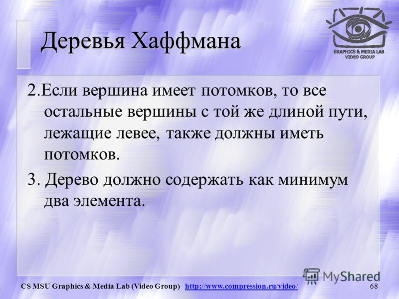 CS MSU Graphics & Media Lab (Video Group) http://www.compression.ru/video/67 Деревья Хаффмана 1.0 0.4 0.3 0.1 0.2 0.3 0.6 1.Если два элемента имеют одинаковую длину пути, то элемент с меньшей частотой должен располагаться левее.