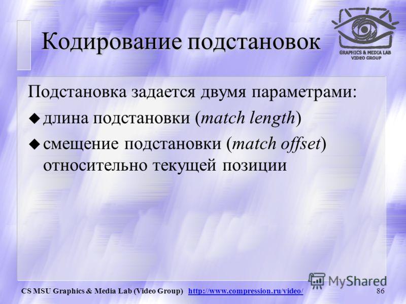 CS MSU Graphics & Media Lab (Video Group) http://www.compression.ru/video/85 Кодирование подстановок Match lengthMatch offset Formatted offset Position slotPosition footerLength header Length/Position header Verbatim position bits 3 Aligned offset bi