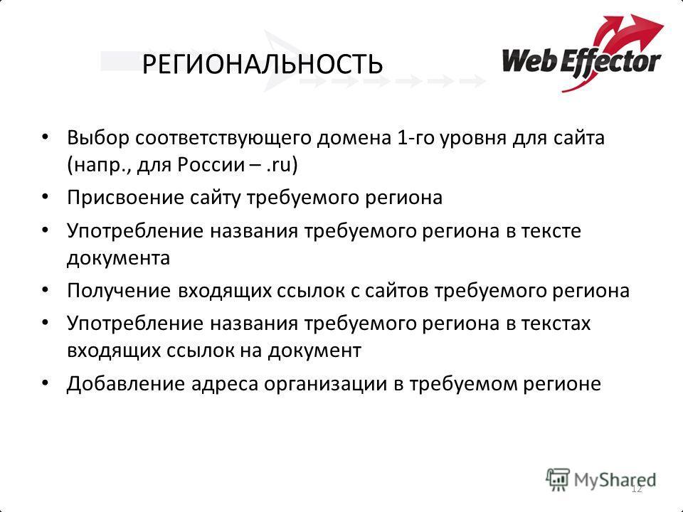 РЕГИОНАЛЬНОСТЬ Выбор соответствующего домена 1-го уровня для сайта (напр., для России –.ru) Присвоение сайту требуемого региона Употребление названия требуемого региона в тексте документа Получение входящих ссылок с сайтов требуемого региона Употребл