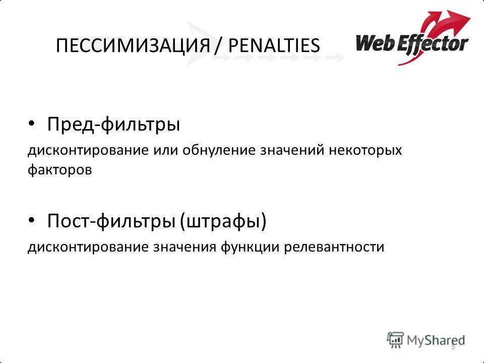 ПЕССИМИЗАЦИЯ / PENALTIES Пред-фильтры дисконтирование или обнуление значений некоторых факторов Пост-фильтры (штрафы) дисконтирование значения функции релевантности 5
