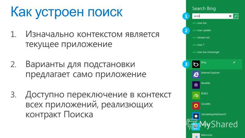 Как устроен поиск 1. Изначально контекстом является текущее приложение 2. Варианты для подстановки предлагает само приложение 3. Доступно переключение в контекст всех приложений, реализющих контракт Поиска