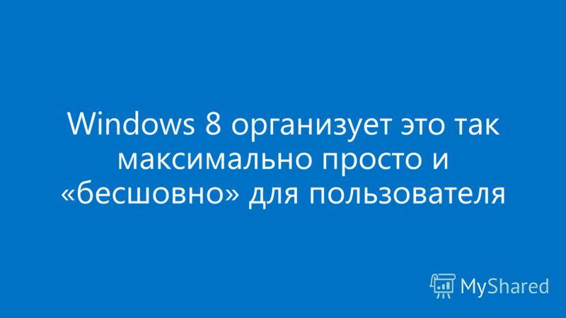 Windows 8 организует это так максимально просто и «бесшовно» для пользователя