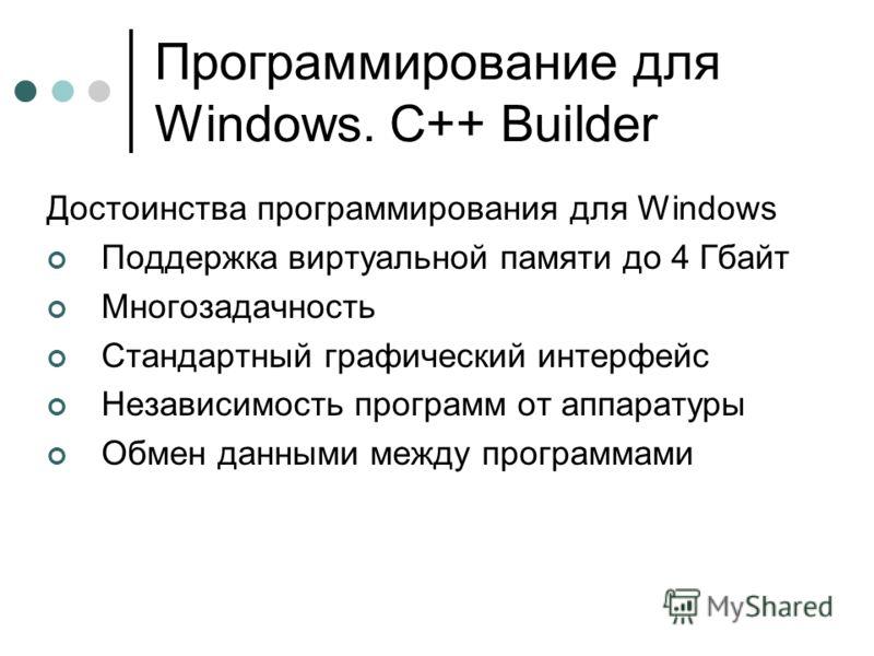 Программирование для Windows. C++ Builder Достоинства программирования для Windows Поддержка виртуальной памяти до 4 Гбайт Многозадачность Стандартный графический интерфейс Независимость программ от аппаратуры Обмен данными между программами