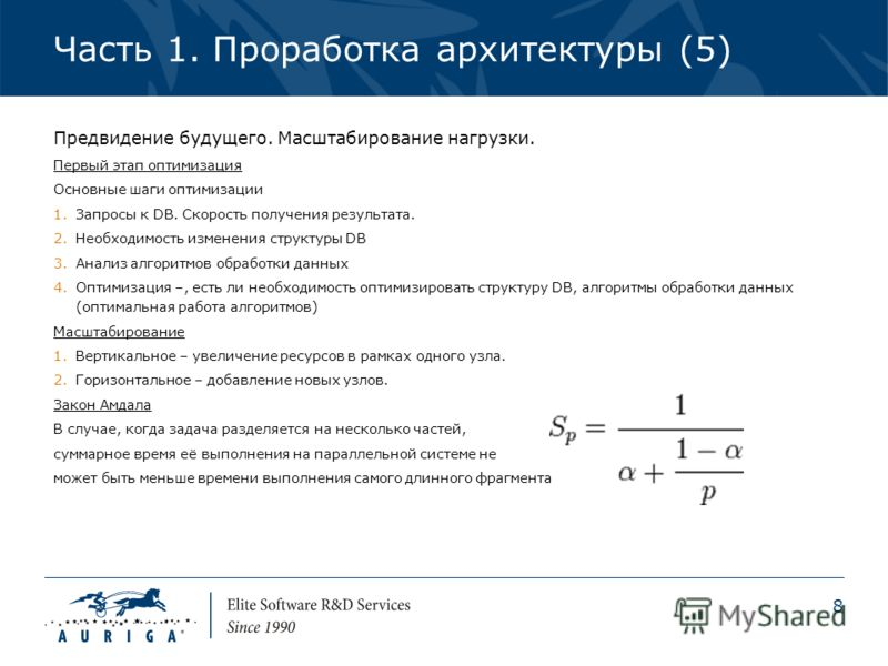 8 Часть 1. Проработка архитектуры (5) Предвидение будущего. Масштабирование нагрузки. Первый этап оптимизация Основные шаги оптимизации 1.Запросы к DB. Скорость получения результата. 2.Необходимость изменения структуры DB 3.Анализ алгоритмов обработк
