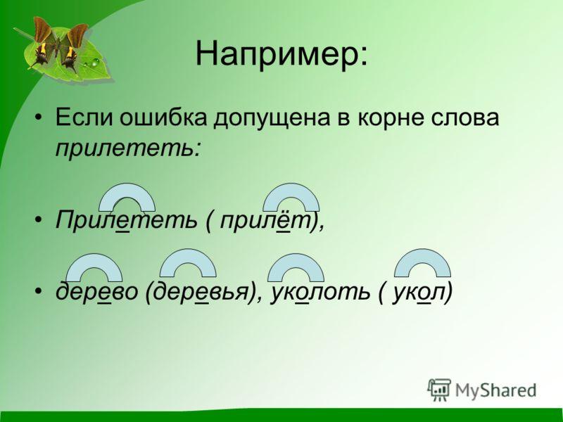 Например: Если ошибка допущена в корне слова прилететь: Прилететь ( прилёт), дерево (деревья), уколоть ( укол)