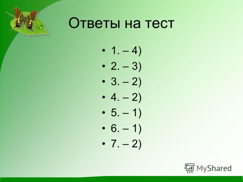 Ответы на тест 1. – 4) 2. – 3) 3. – 2) 4. – 2) 5. – 1) 6. – 1) 7. – 2)