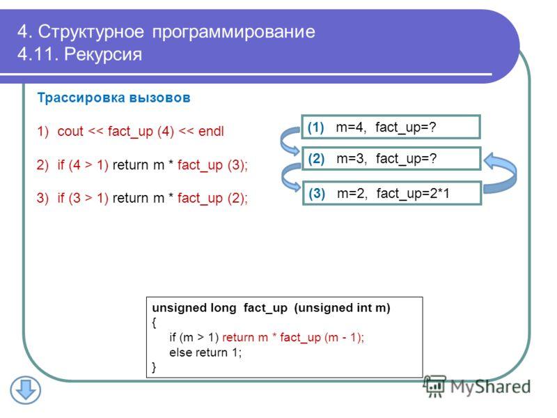 4. Структурное программирование 4.11. Рекурсия Трассировка вызовов 1)cout  1) return m * fact_up (2); (1) m=4, fact_up=? unsigned long fact_up (unsigned int m) { if (m > 1) return m * fact_up (m - 1); else return 1; } (2) m=3, fact_up=? (3) m=2, fact