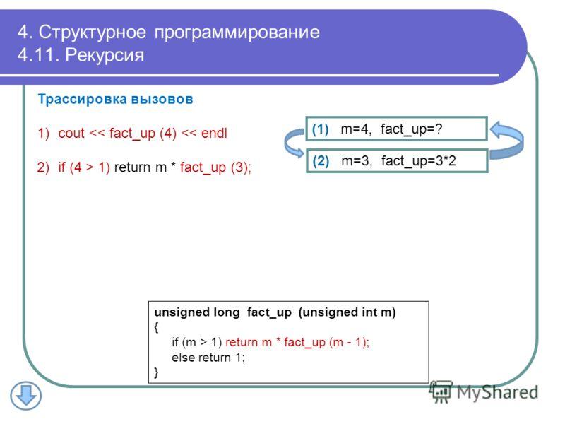 4. Структурное программирование 4.11. Рекурсия Трассировка вызовов 1)cout  1) return m * fact_up (m - 1); else return 1; } (2) m=3, fact_up=3*2