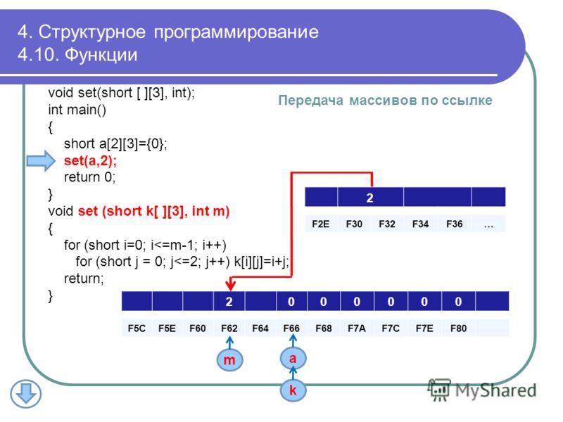 void set(short [ ][3], int); int main() { short a[2][3]={0}; set(a,2); return 0; } void set (short k[ ][3], int m) { for (short i=0; i