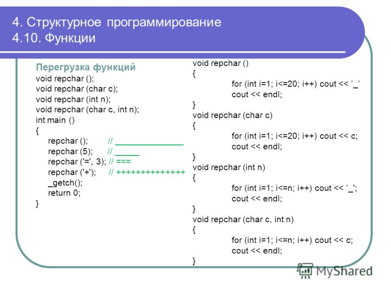Перегрузка функций void repchar (); void repchar (char с); void repchar (int n); void repchar (char c, int n); int main () { repchar (); // ______________ repchar (5); // _____ repchar ('=', 3); // === repchar ('+'); // ++++++++++++++ _getch(); retur