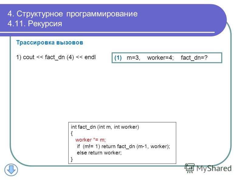 4. Структурное программирование 4.11. Рекурсия (1) m=3, worker=4; fact_dn=? Трассировка вызовов 1) cout