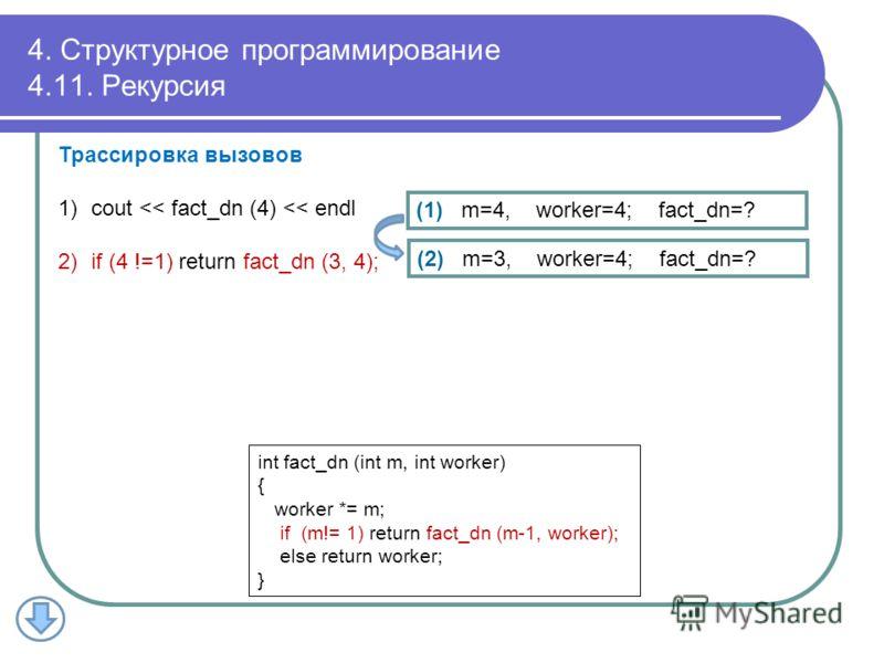 4. Структурное программирование 4.11. Рекурсия (1) m=4, worker=4; fact_dn=? Трассировка вызовов 1)cout
