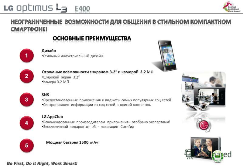 1 1 2 2 3 3 5 5 Огромные возможности с экраном 3.2 и камерой 3.2 МП Широкий экран 3.2 Камера 3.2 МП SNS Предустановленные приложения и виджеты самых популярных соц сетей Синхронизация информации из соц сетей с книгой контактов. Дизайн Стильный индуст