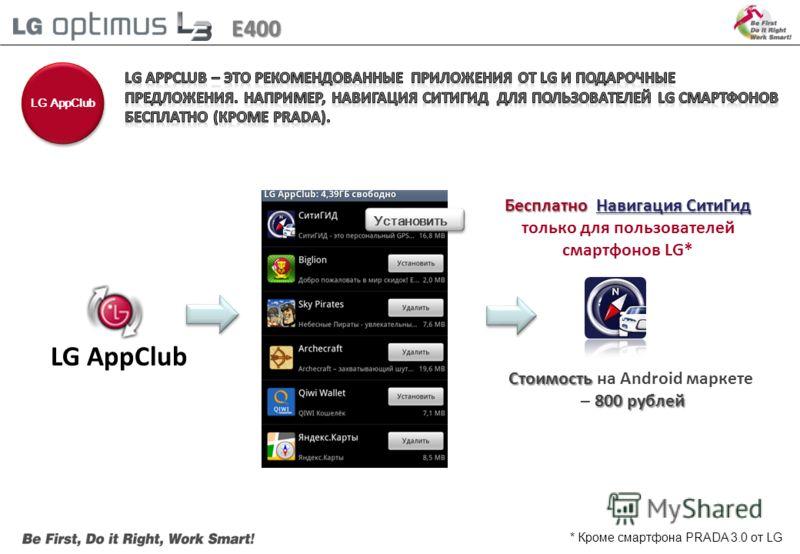 LG AppClub E400 Установить БесплатноНавигация СитиГид Бесплатно Навигация СитиГид только для пользователей смартфонов LG* Стоимость Стоимость на Android маркете 800 рублей – 800 рублей * Кроме смартфона PRADA 3.0 от LG