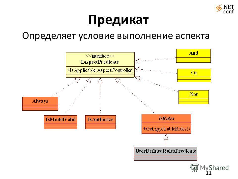 Предикат 11 Определяет условие выполнение аспекта