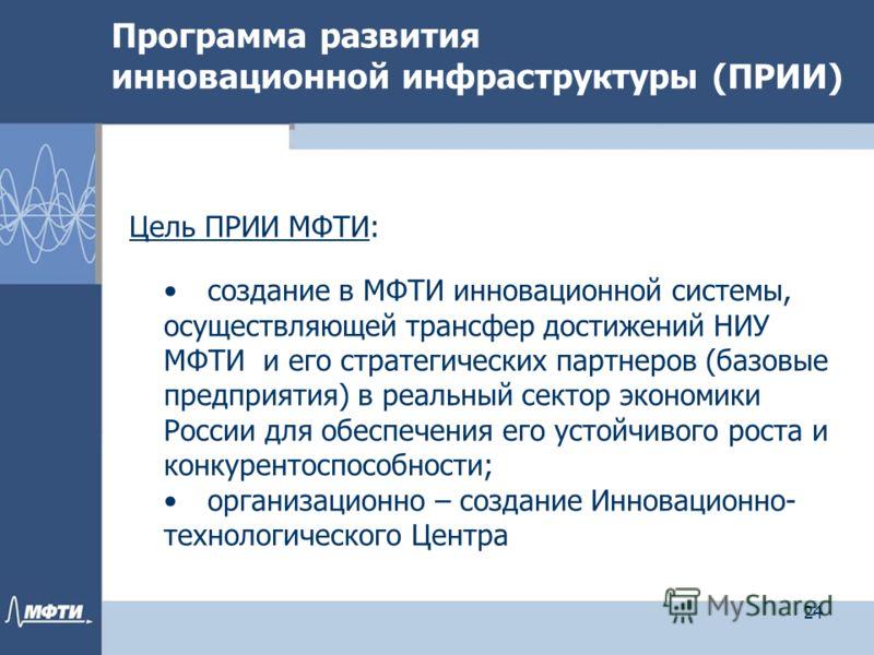 Программа развития инновационной инфраструктуры (ПРИИ) Цель ПРИИ МФТИ: создание в МФТИ инновационной системы, осуществляющей трансфер достижений НИУ МФТИ и его стратегических партнеров (базовые предприятия) в реальный сектор экономики России для обес