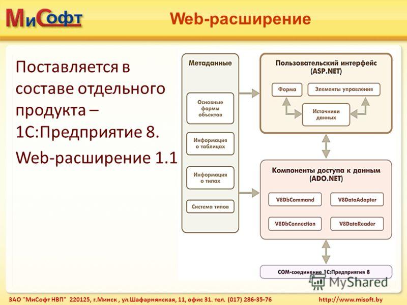 Web-расширение ЗАО МиСофт НВП 220125, г.Минск, ул.Шафарнянская, 11, офис 31. тел. (017) 286-35-76 http://www.misoft.by Поставляется в составе отдельного продукта – 1С:Предприятие 8. Web-расширение 1.1