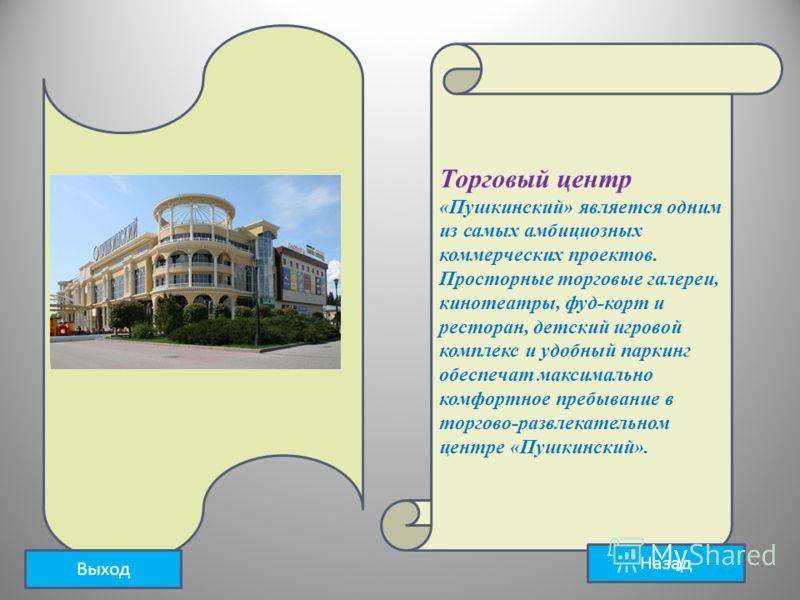 Торговый центр «Пушкинский» является одним из самых амбициозных коммерческих проектов. Просторные торговые галереи, кинотеатры, фуд-корт и ресторан, детский игровой комплекс и удобный паркинг обеспечат максимально комфортное пребывание в торгово-разв